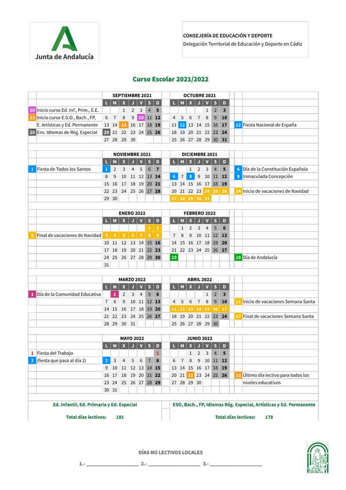 calendario-escolar-2021-2022-Cádiz-Andalucía-pulseras-de-tela-personalizadas-pulseradetela_es