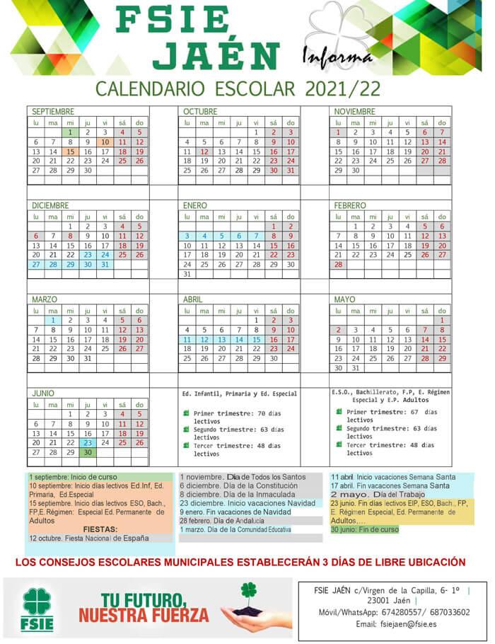 calendario-escolar-2021-2022-Jaén-Andalucía-pulseras-de-tela-personalizadas-pulseradetela_es