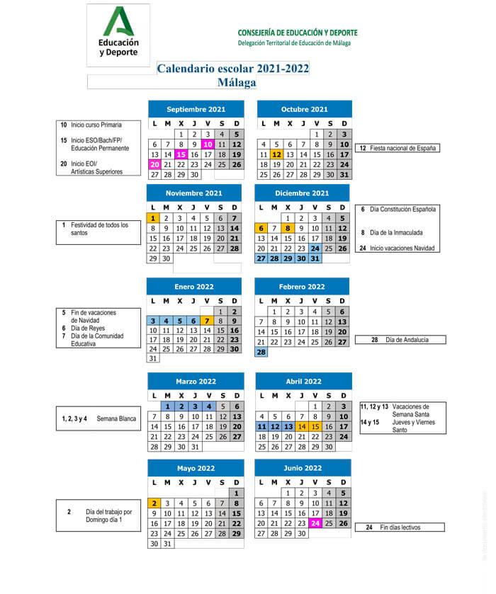 calendario-escolar-2021-2022-Málaga-Andalucía-pulseras-de-tela-personalizadas-pulseradetela_es